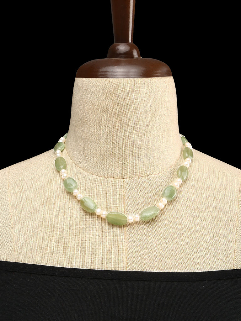 Jade and Pearls Single Strand Necklace