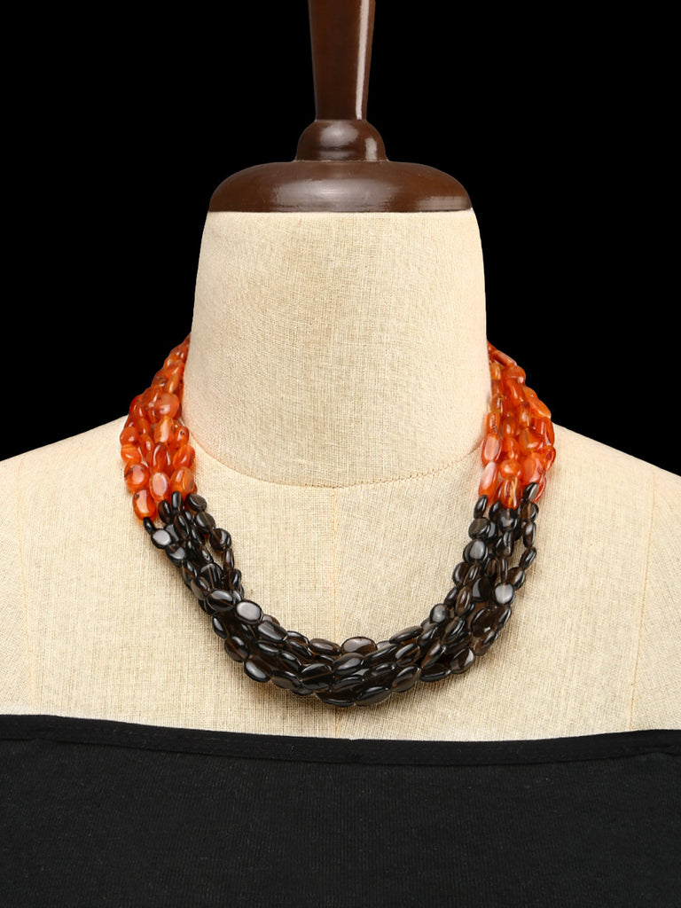 Carnelian and Smoky Quartz  Half and Half Bunched Necklace