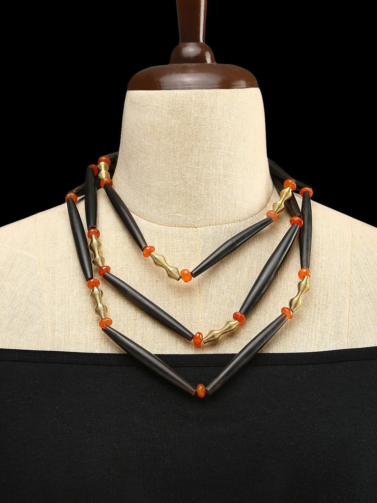 Wood Pipes - Carnelian with Metal Spring Necklace