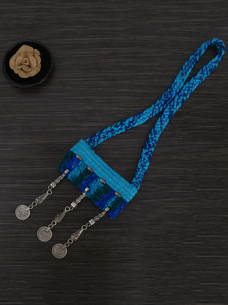 Blue Boho Hand Weaved Necklace