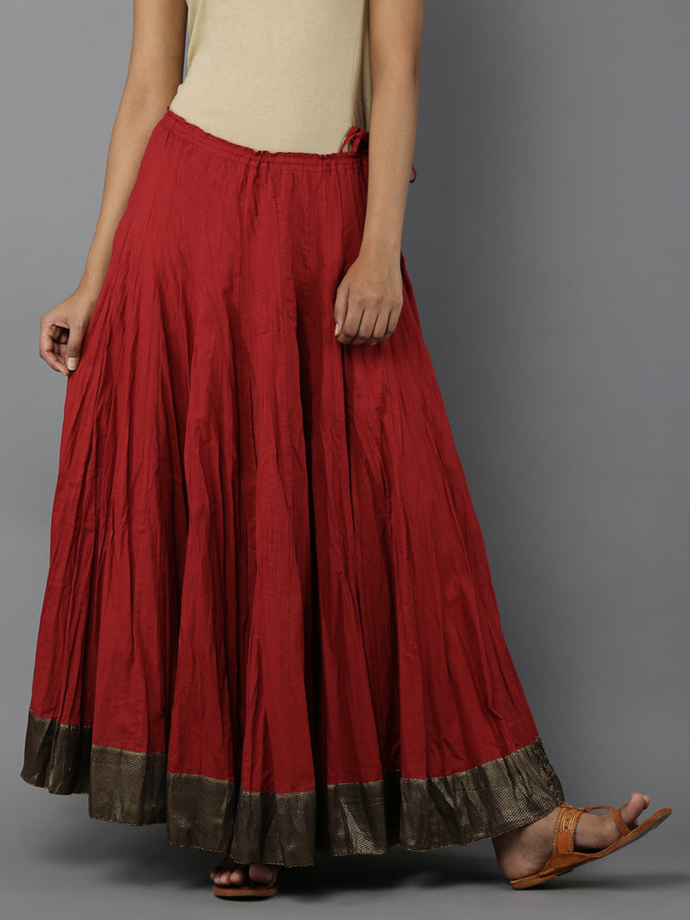 Red Cambric Cotton Lehnga