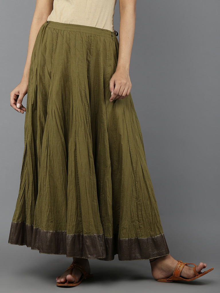 Green Cambric Cotton Lehnga