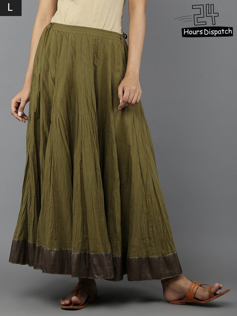 Green Cambric Cotton Lehenga