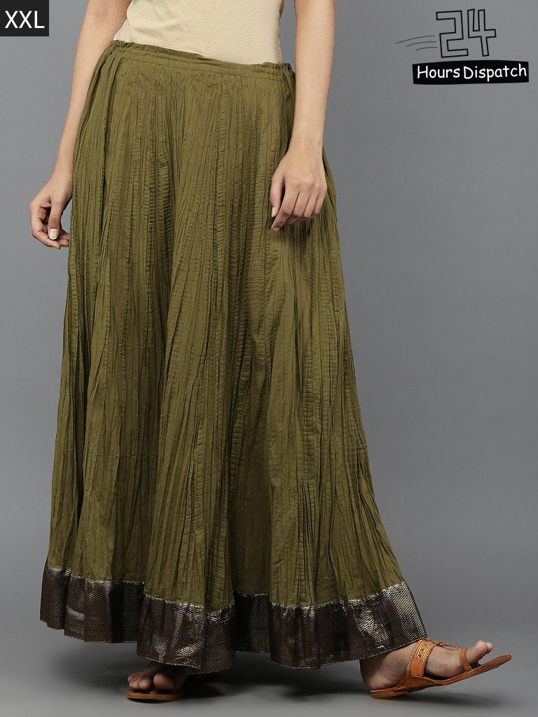 Olive Green Cambric Cotton Lehenga
