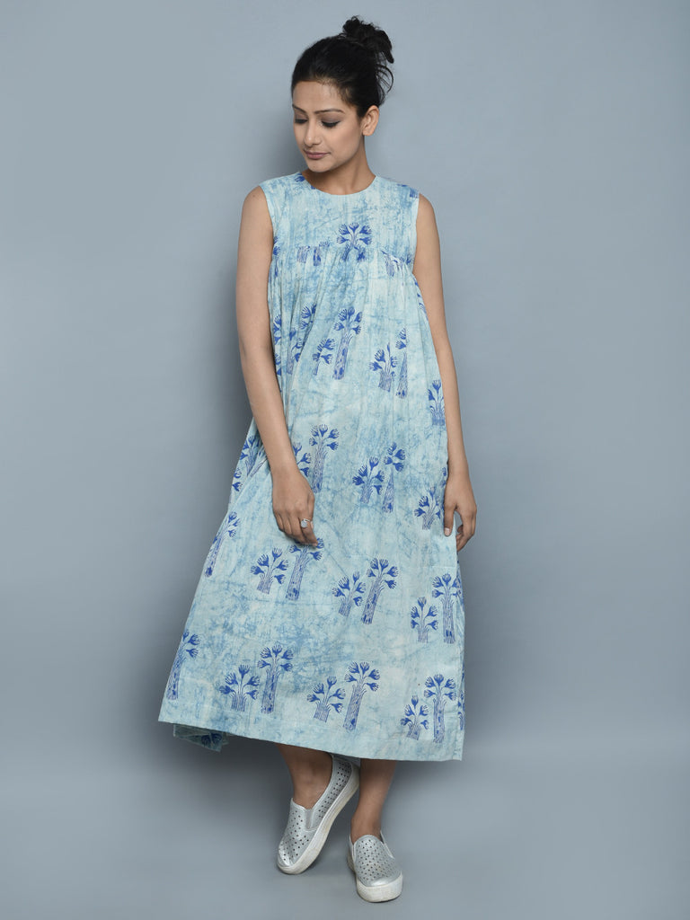 Ice Blue Hand Block Printed Cotton Dress
