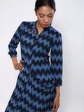 Indigo Black Kika Cowl Shirtdress