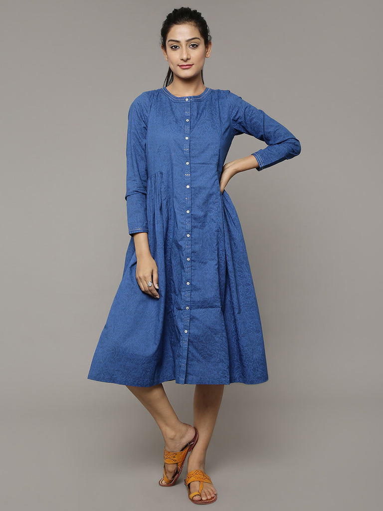 Indigo Block Printed Cotton Dress