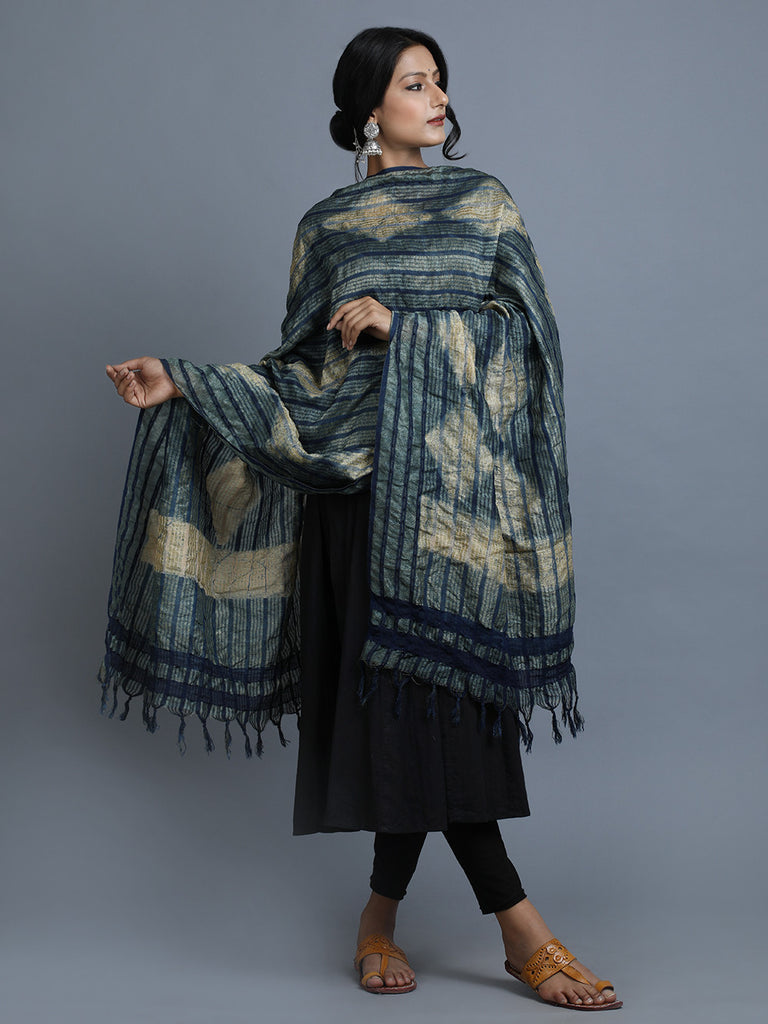 Indigo Block Printed Cotton Dupatta
