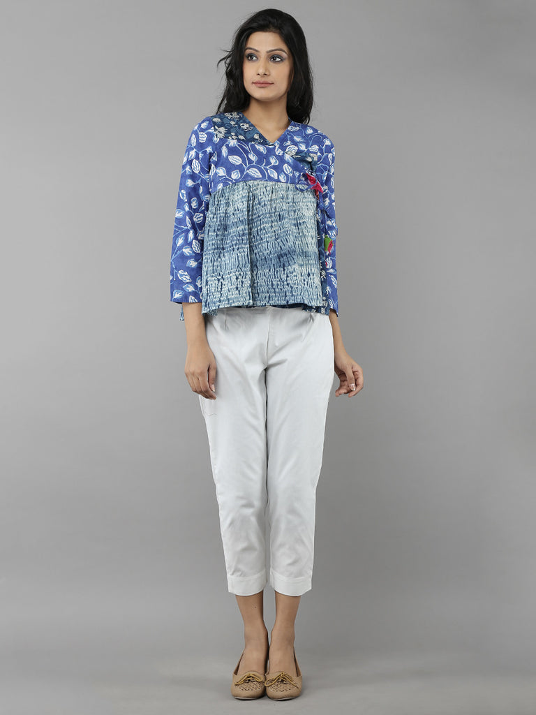 Indigo Blue Cotton Kedia Top
