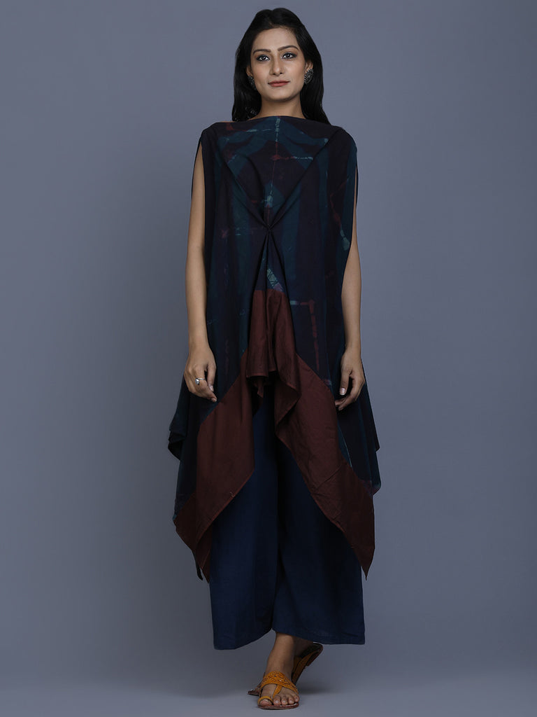 Indigo Brown Cotton Shibori Dyed Asymmetric Jhalla Top