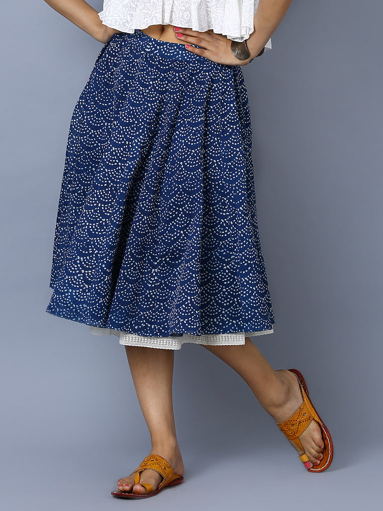 Indigo Chanderi Hand Block Printed Kali Skirt