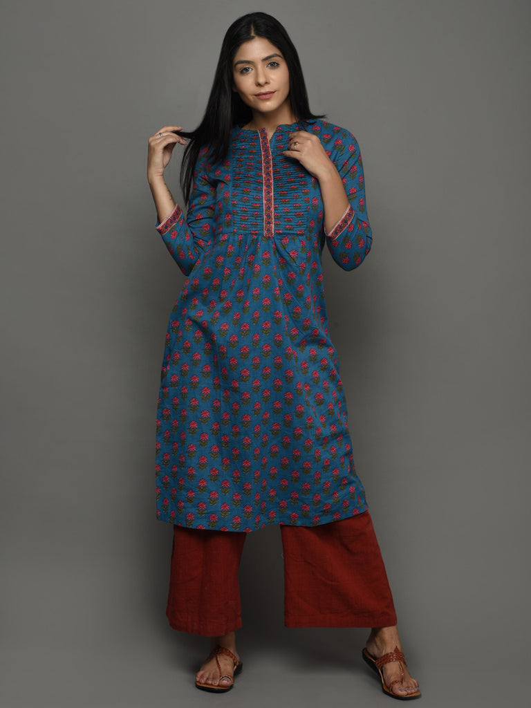 Indigo Cotton Block Printed Kurta