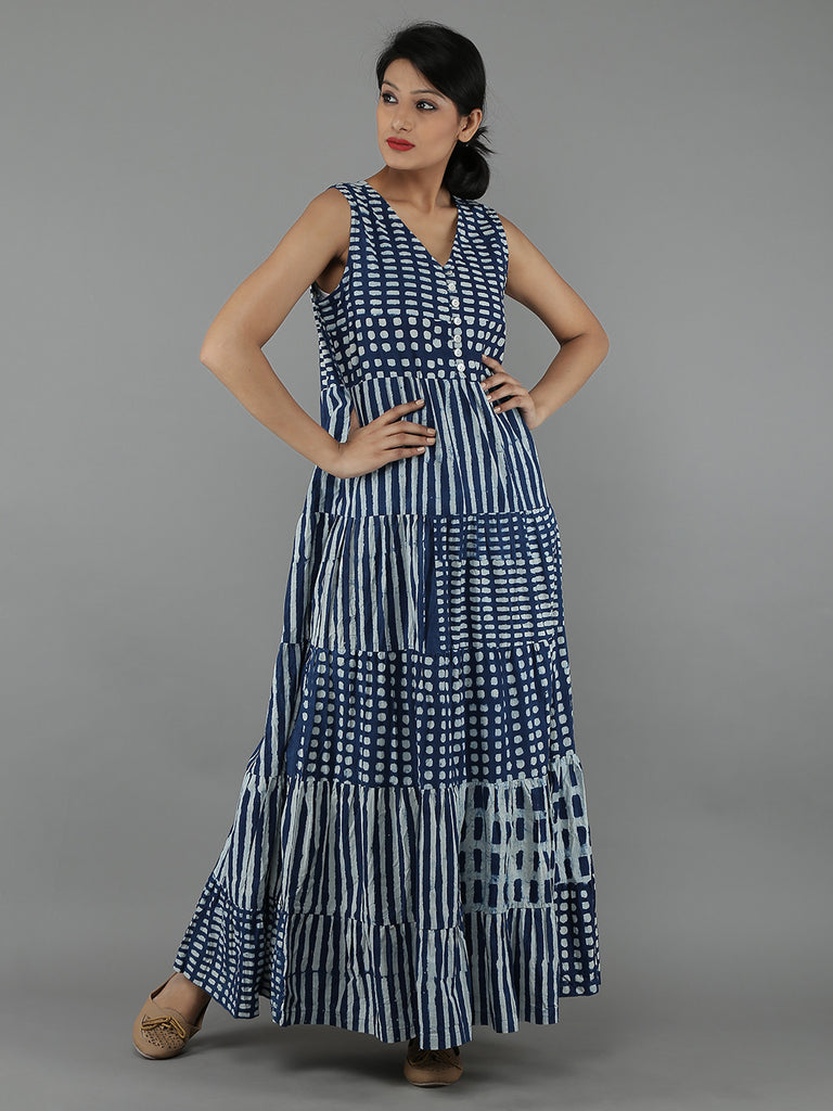 Indigo Cotton Full Length Gown