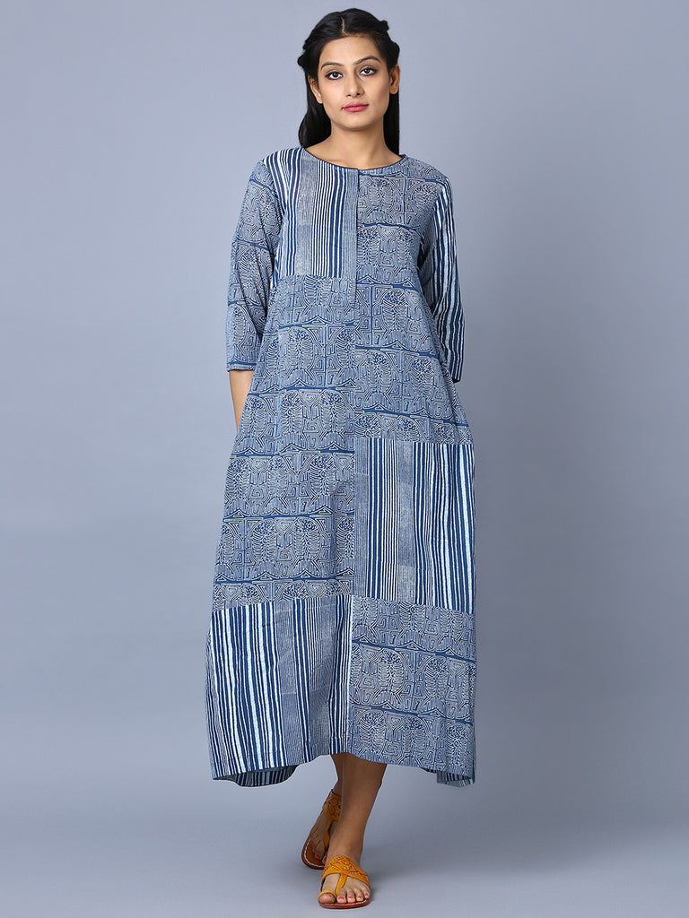 Indigo Cotton Hand Block Printed Alyssum Tunic