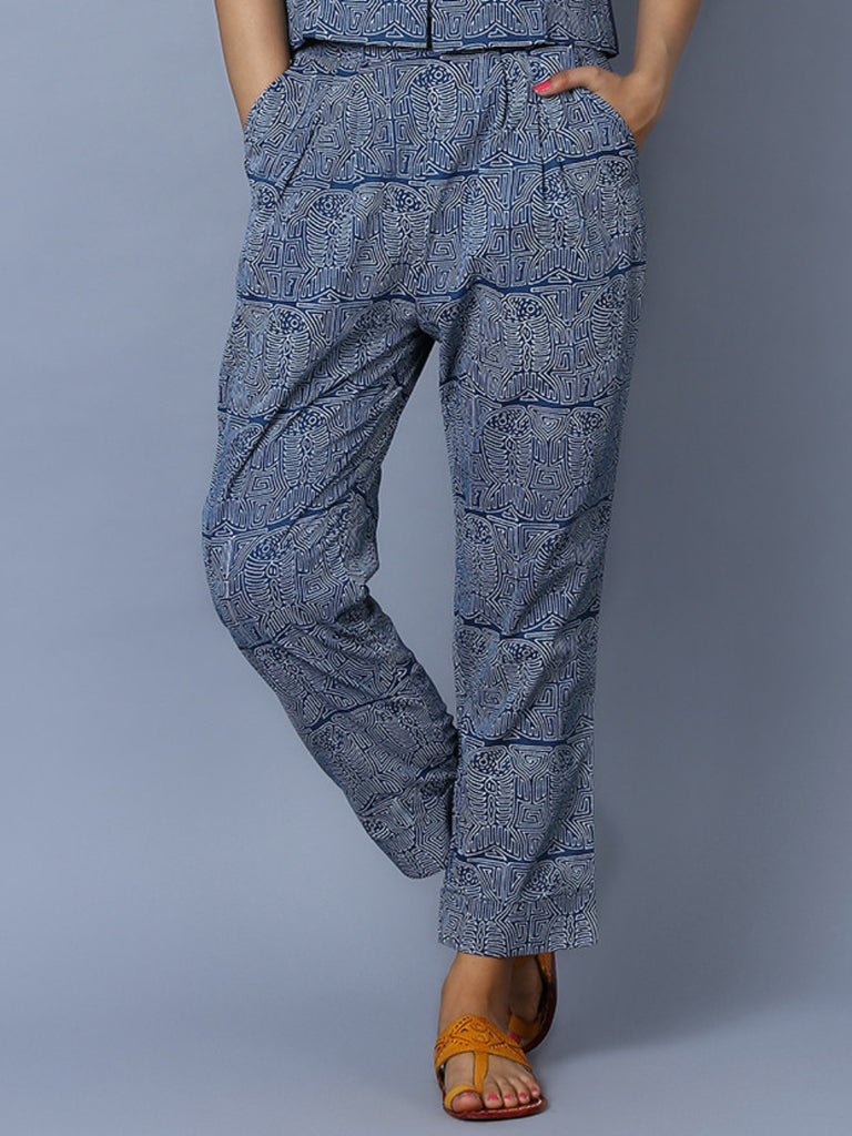 Indigo Cotton Hand Block Printed Fish Pants