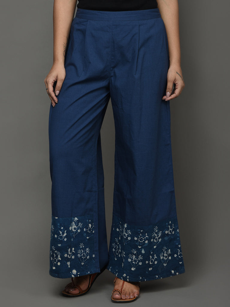 Indigo Cotton Printed Pants