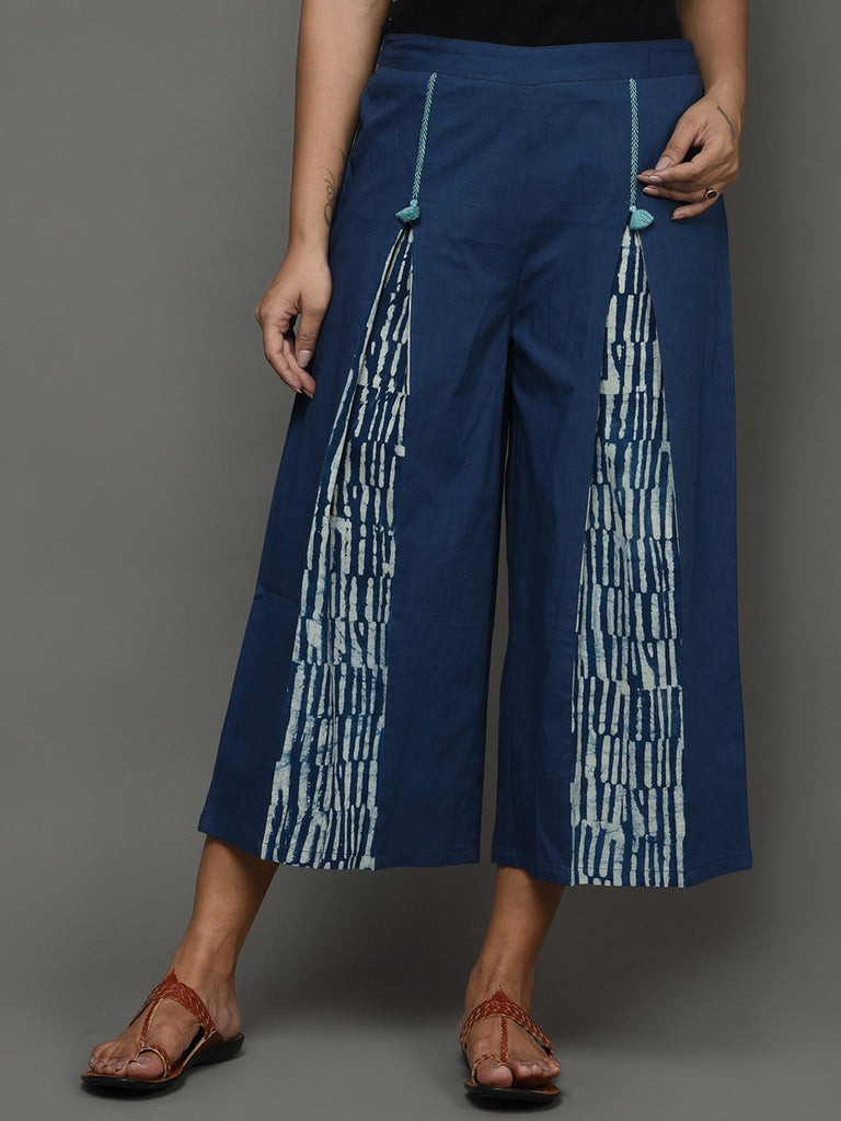Indigo Cotton Hand Embroidered Paneled Pants