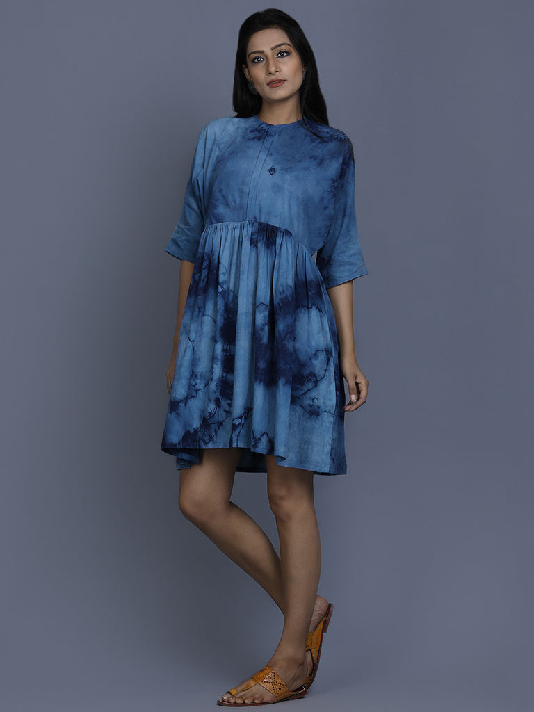 Indigo Cotton Shibori Dye Dress