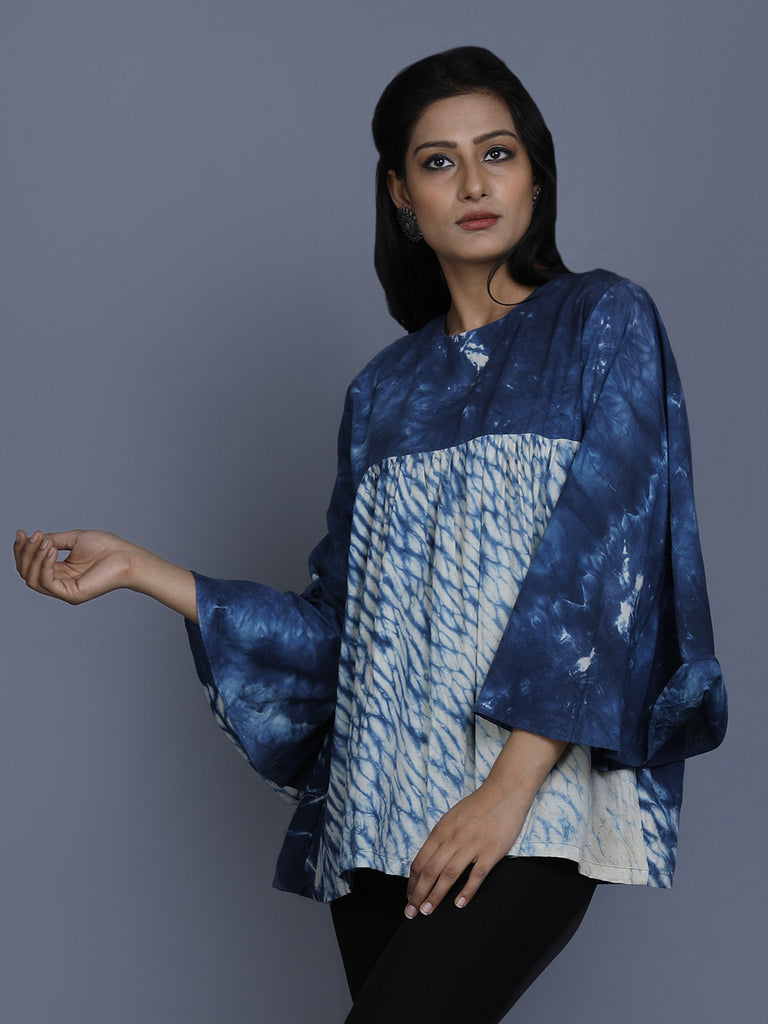 Indigo Cotton Shibori Dye Top