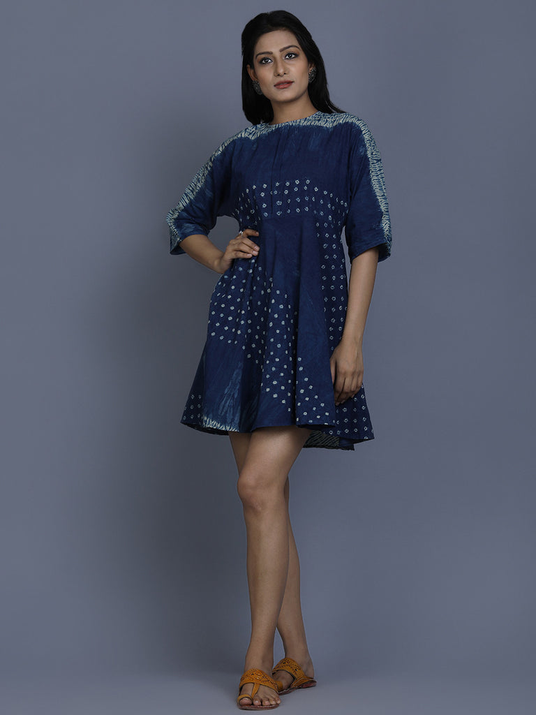 Indigo Cotton Shibori Dyed Dress
