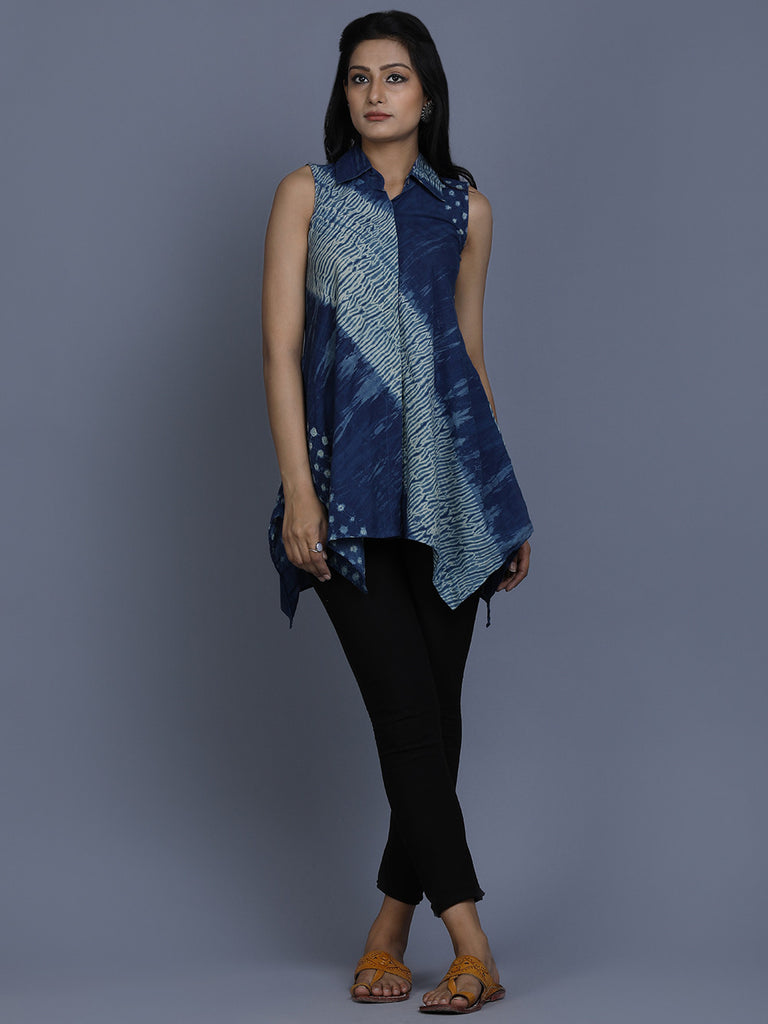 Indigo Cotton Shibori Dyed Tunic