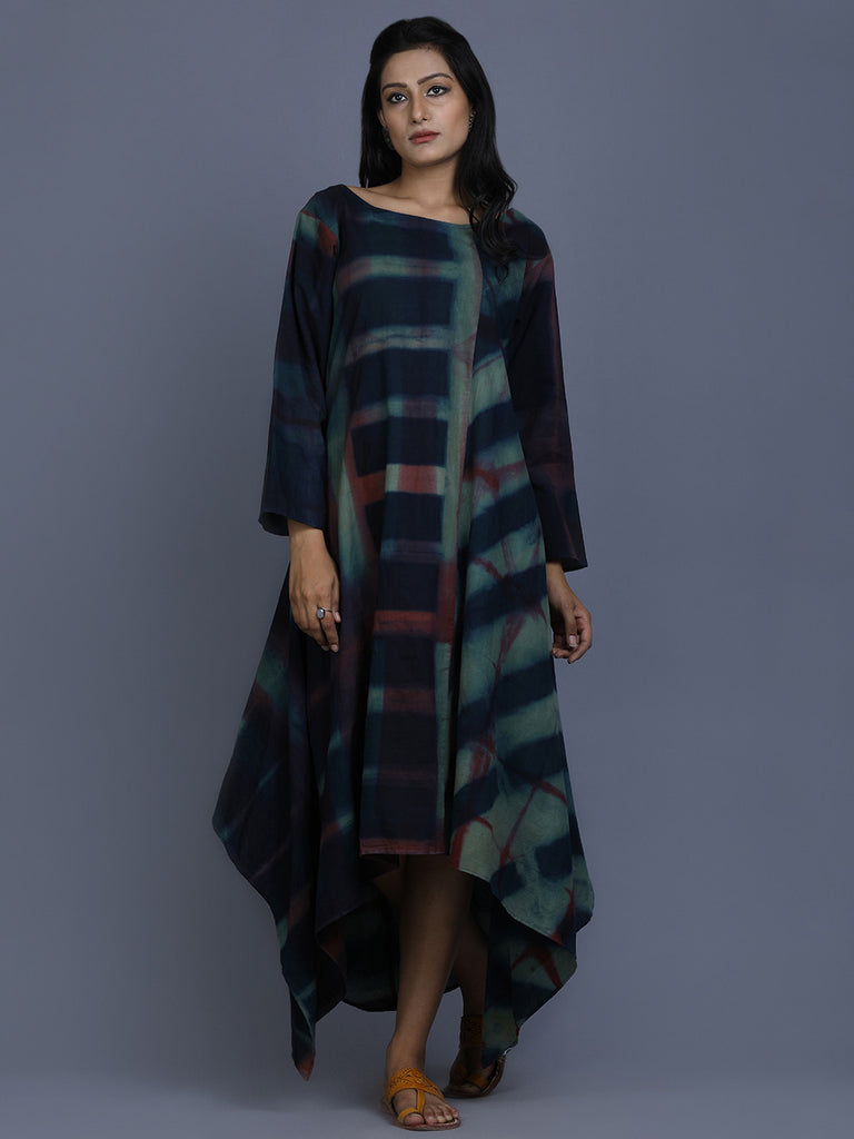 Indigo Green Cotton Shibori Dyed Asymmetric Dress