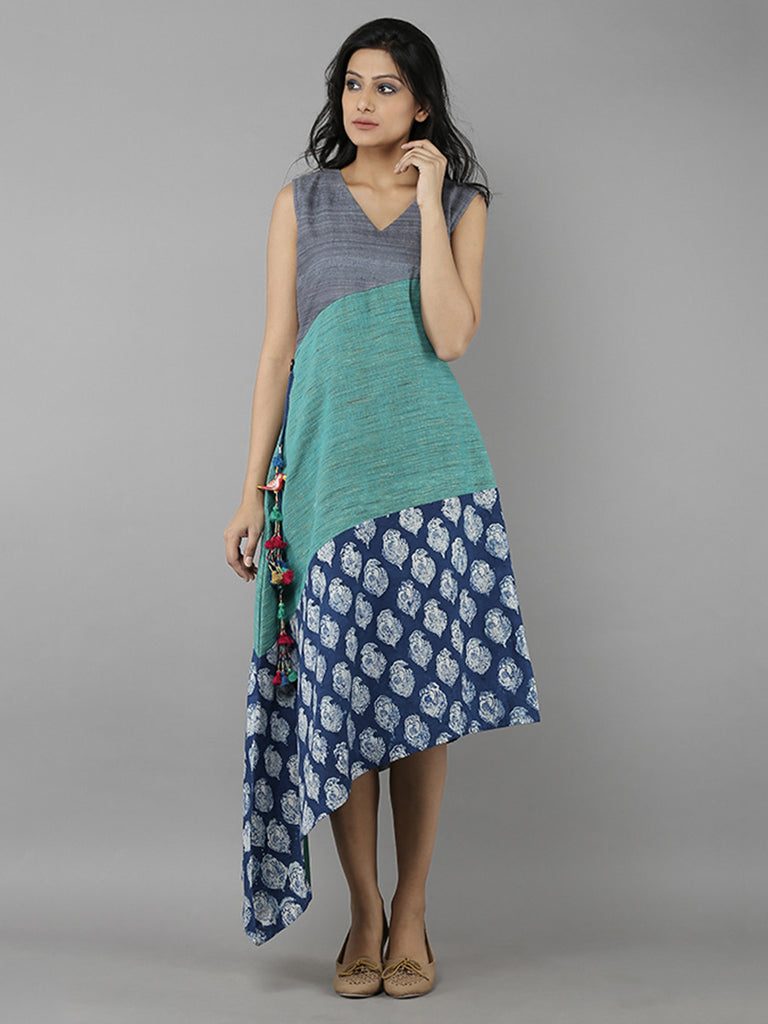 Indigo Grey Cotton Chanderi Full Length Dress