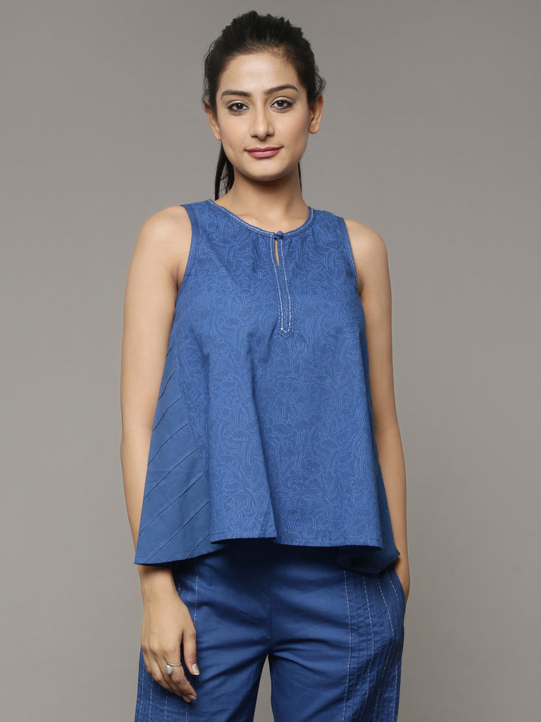Indigo Hand Block Printed Cotton Top