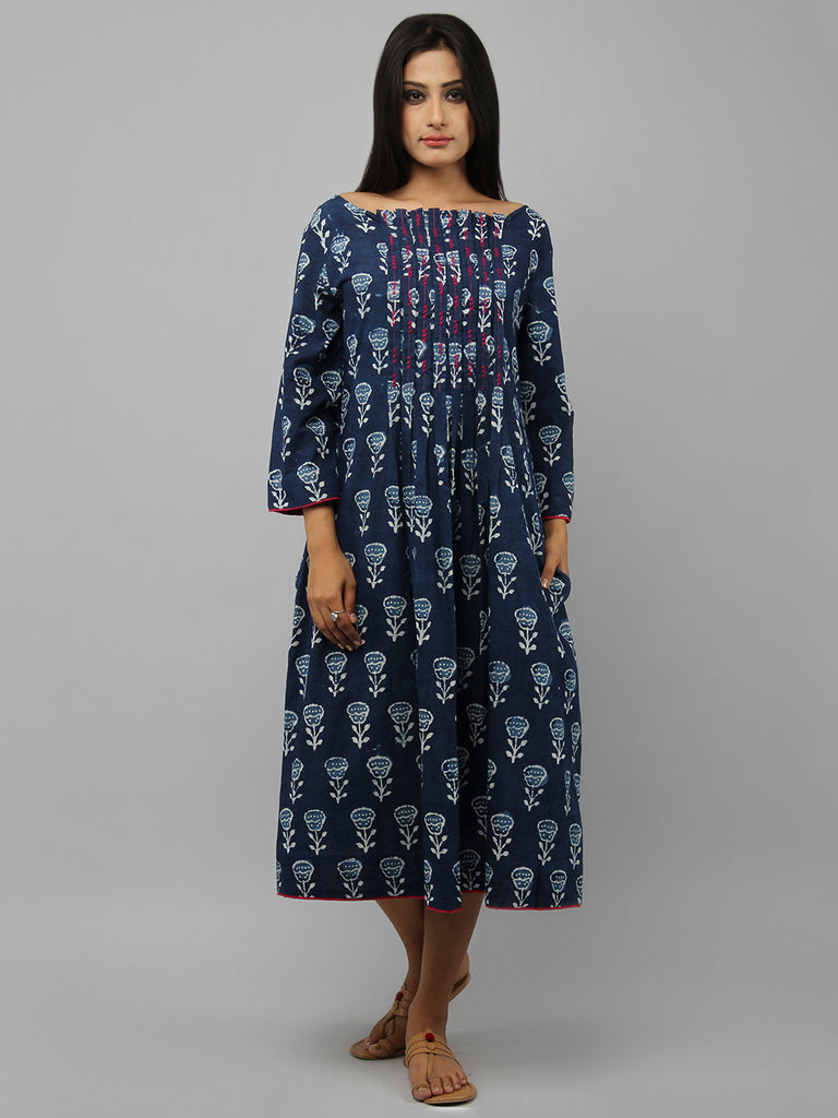 Indigo Hand Embroidered Cotton Dress