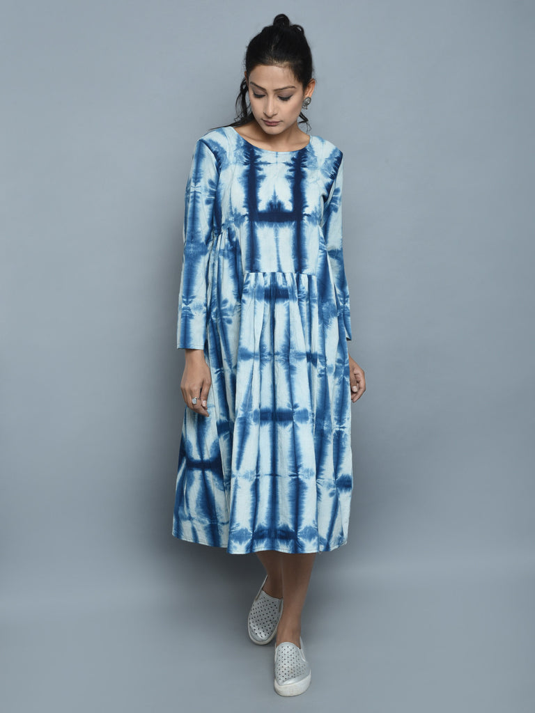 Indigo Ivory Cotton Clamp Dyed Dress