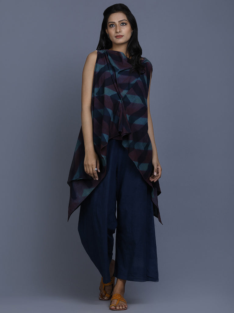 Indigo Cotton Shibori Dyed Asymmetric Top