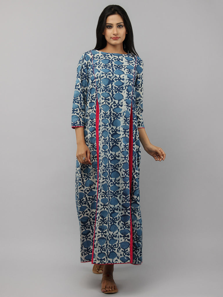 Indigo Magenta Hand Block Printed Cotton Maxi Dress