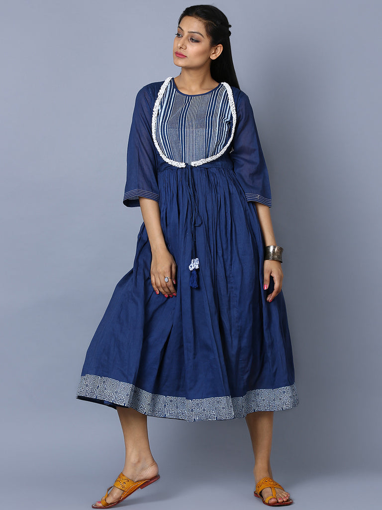 Indigo Navy Cotton Hand Block Printed Magnolia Dress