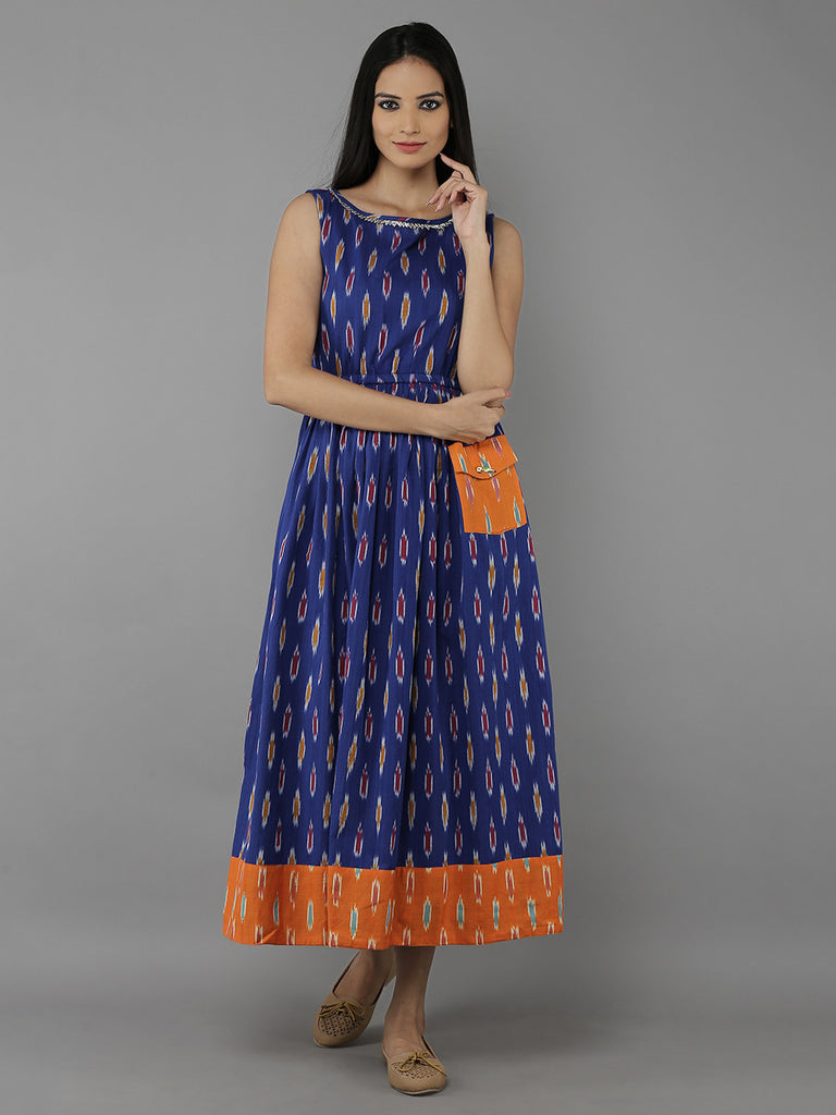 Indigo Orange Cotton Ikat Dress