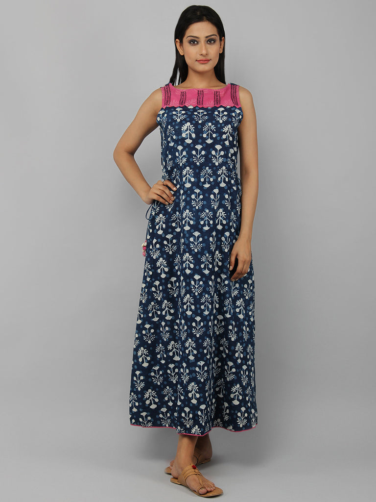 Indigo Pink White Hand Block Printed Cotton Maxi Dress
