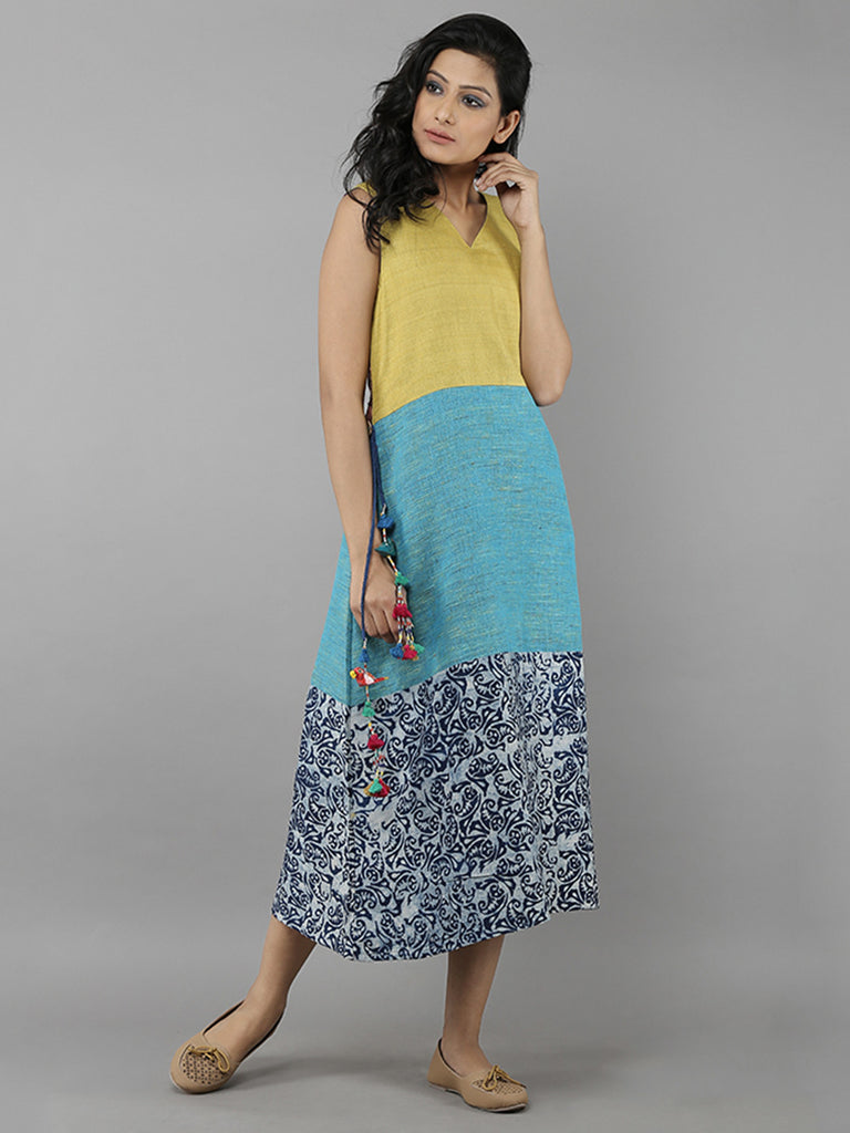 Mustard Blue Indigo Cotton Chanderi Full Length Dress