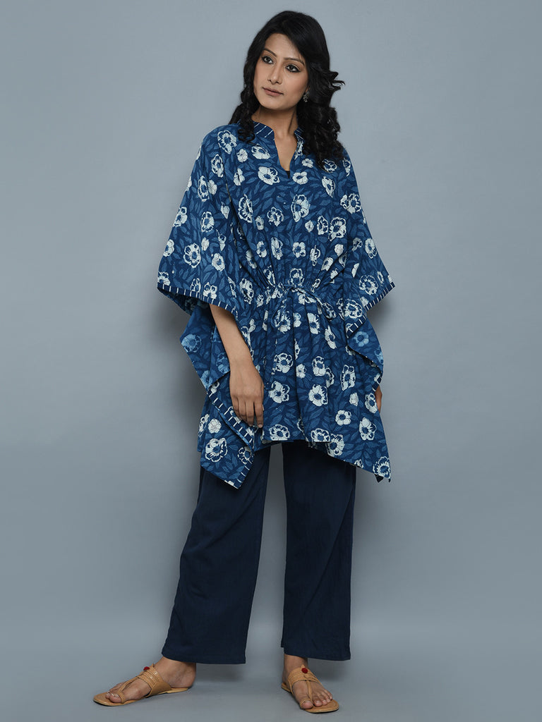 Indigo White Cotton Dabu Hand Block Printed Kaftan