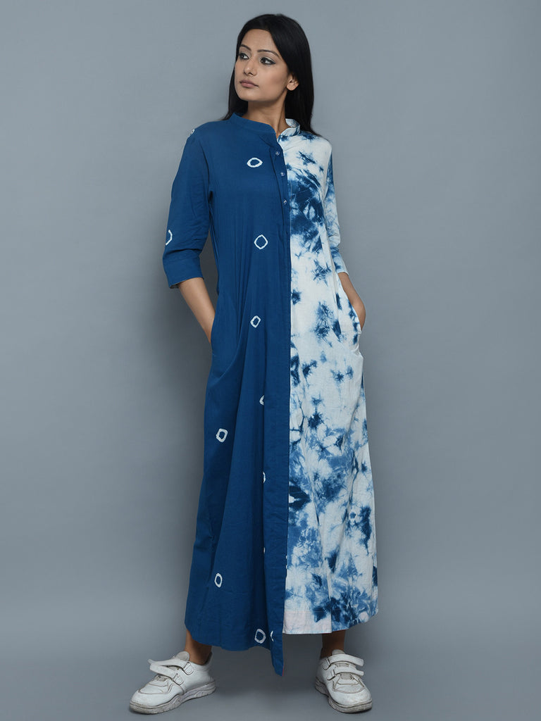 Indigo White Cotton Marble Dyeing Dress