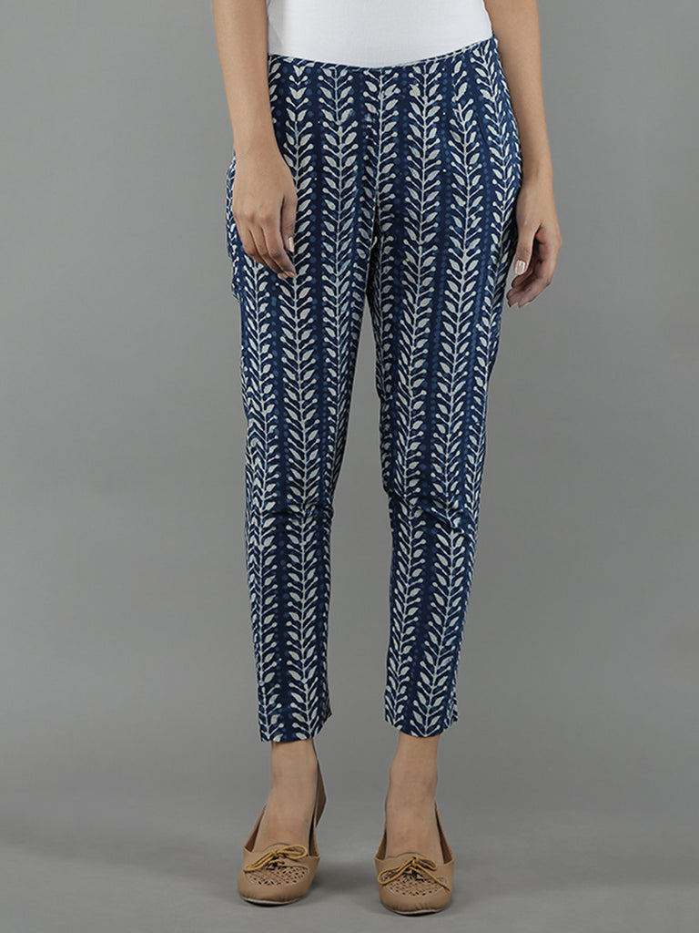 Indigo White Cotton Straight Pants