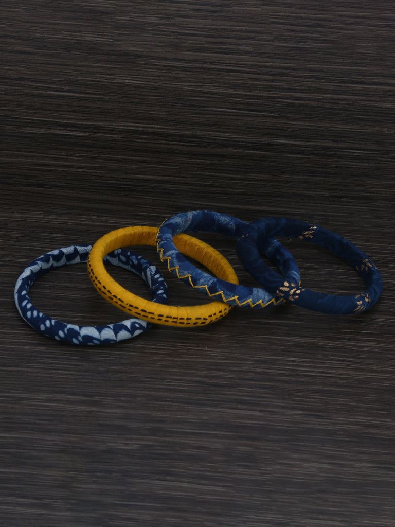 Indigo Yellow Cotton Fabric Bangles - Set of 4