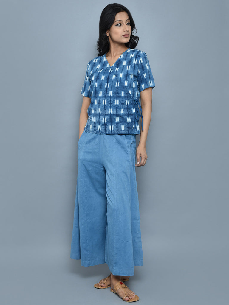 Indigo Chanderi Cotton Angrakha Top