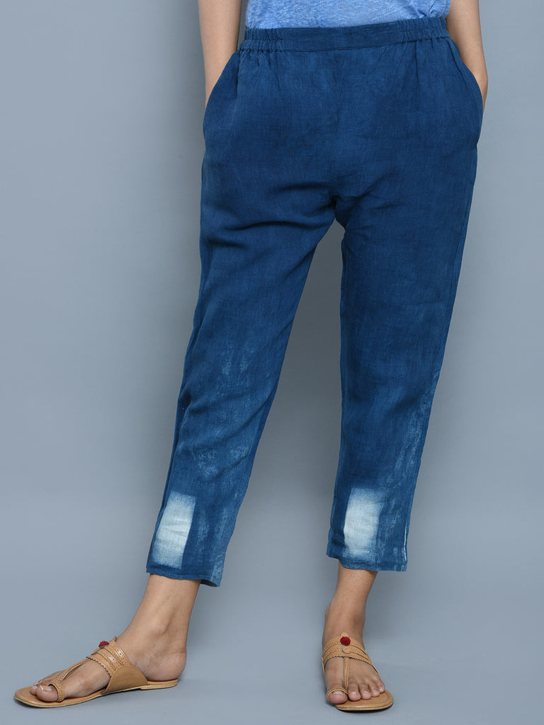 Indigo Clamp Dyed Cotton Trousers