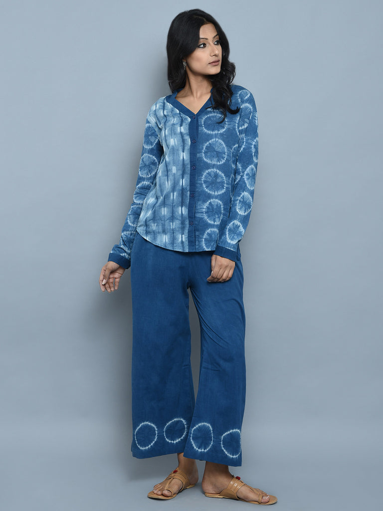 Indigo Cotton Shibori Dyed Shirt