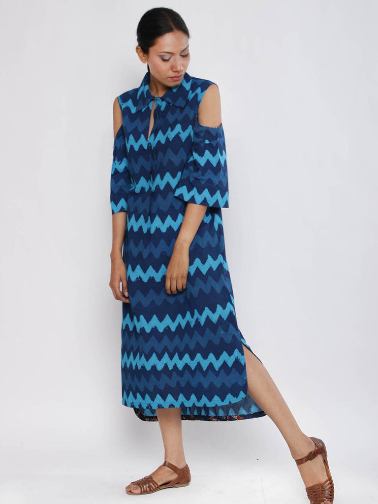Indigo Turquoise Kika Cold Shoulder Cotton Dress