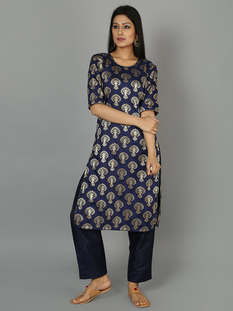 Ink Blue Silk Kurta with Pants - Set of 2