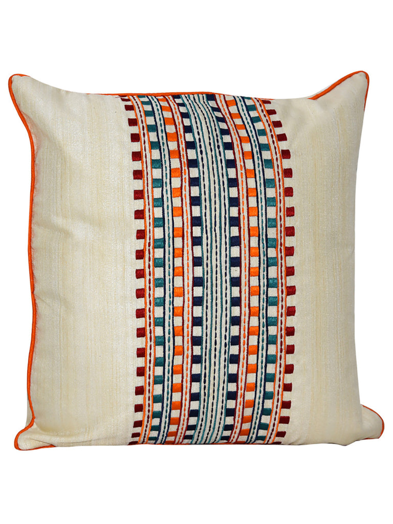 Ivory Multi Color Dupion Silk Embroidered Cushion Cover