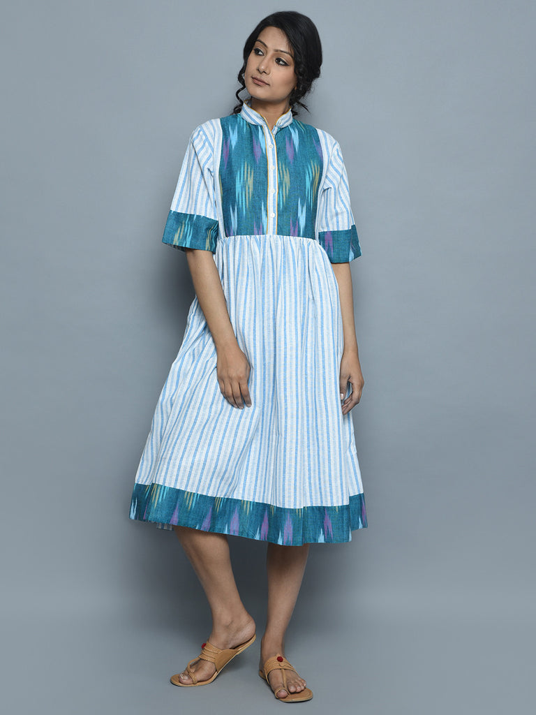 Ivory Blue Handwoven Khadi Dress
