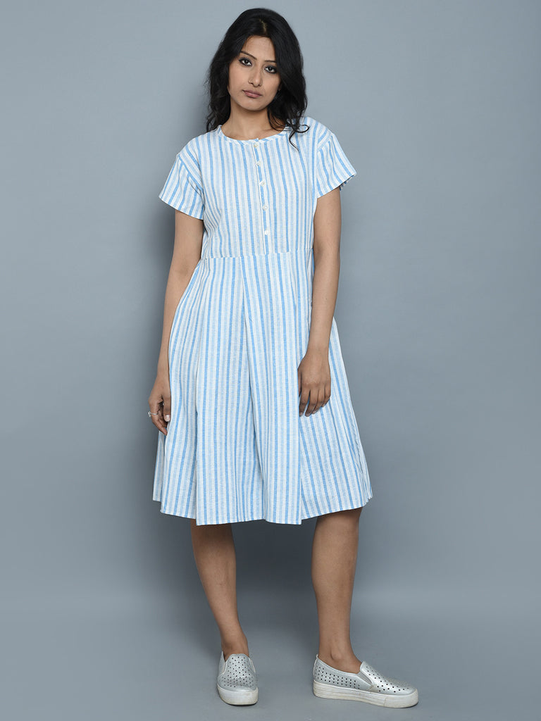 Ivory Blue Stripe Handwoven Khadi Dress