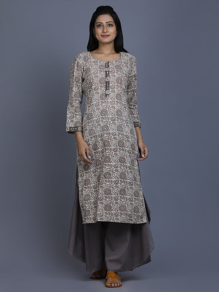 Ivory Brown Cotton Dabu Hand Block Printed Kurta