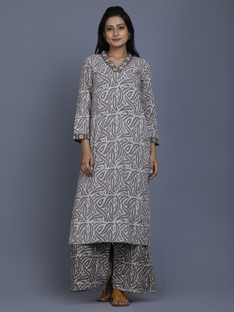 Ivory Brown Dabu Hand Block Printed Cotton Kurta